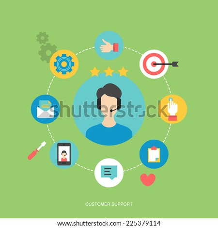 Flat icons design for customer service and client experience concept - stock vector