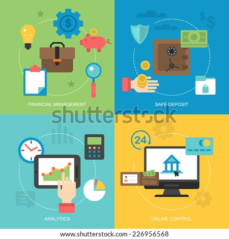 Flat icons design for online banking, financial management, safe deposit, analytics and online control - stock vector