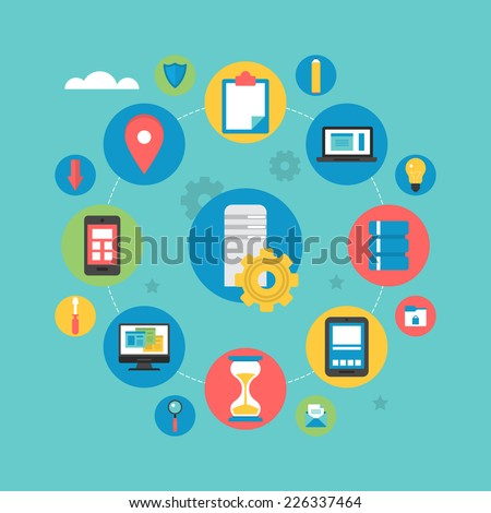 Flat icons design for server computing and data base - stock vector