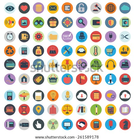 Flat icons design modern vector illustration big set of various financial service items, web and technology development, business management symbol, marketing items and office equipment on background - stock vector