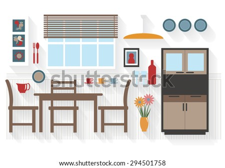 Flat Icons Dining Room Furniture with Table and Chairs - All Long Shadows on one layer - contains blends  - stock vector