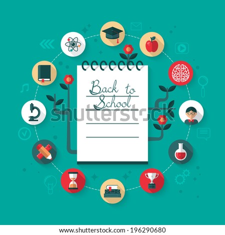 Flat icons for back to school concept. Vector illustration - stock vector