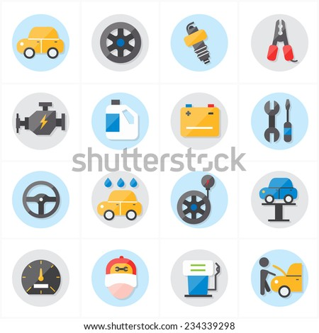 Flat Icons For Car Service Icons Vector Illustration - stock vector