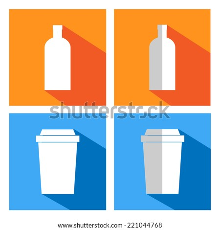 flat icons for coffee cups and bottles. Coffee vending - stock vector