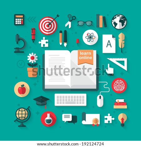 Flat icons for e-learning and online education concept. Vector illustration - stock vector