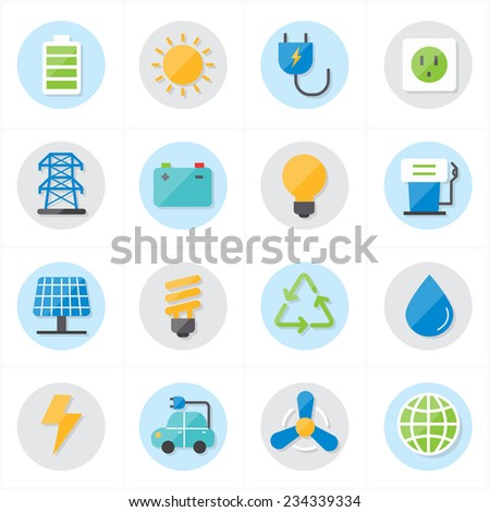 Flat Icons For Environment Icons and Ecology Icons Vector Illustration - stock vector