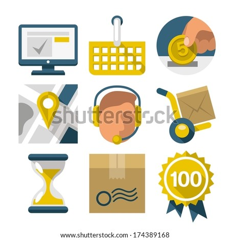 Flat icons for eshop. Set of the flat design modern icons for infographic internet shop. Concept of purchasing product via internet. - stock vector