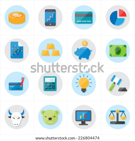 Flat Icons For Finance Icons and Business Icons Vector Illustration - stock vector