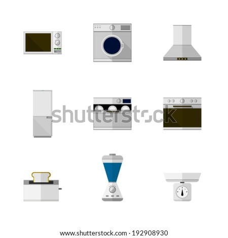 Flat icons for home equipment. Set of nine flat icons with white and colored equipment for home on white background  - stock vector
