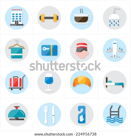 Flat Icons For Hotel Icons and Travel Icons Vector Illustration - stock vector