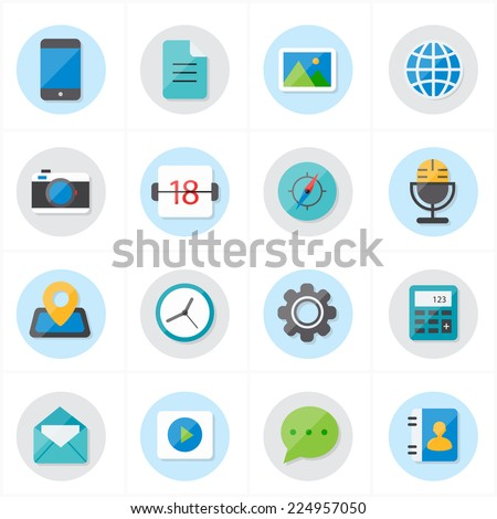 Flat Icons For Media Icons and Communication Icons Vector Illustration - stock vector