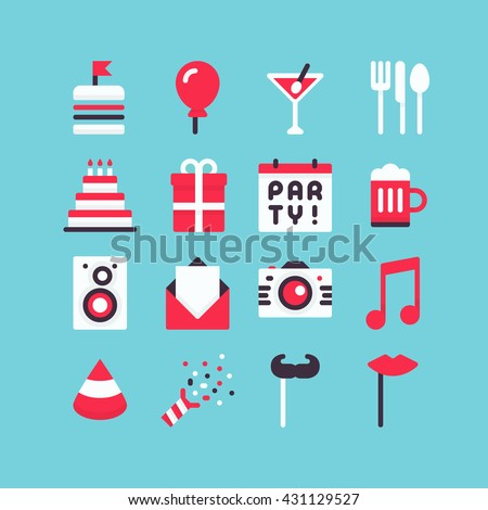 Flat icons for party. Food, drink, cake, music and other symbols