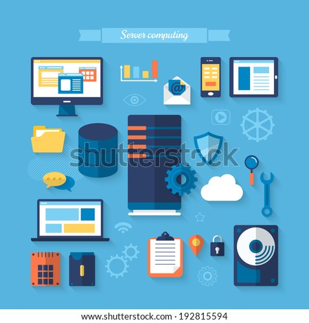 Flat icons for server computing concept. Vector illustration - stock vector
