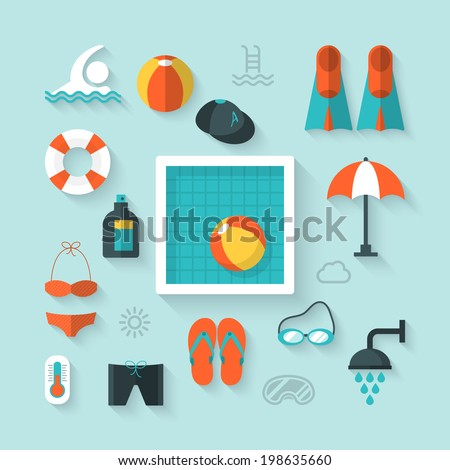Flat icons for swimming pool activity - stock vector