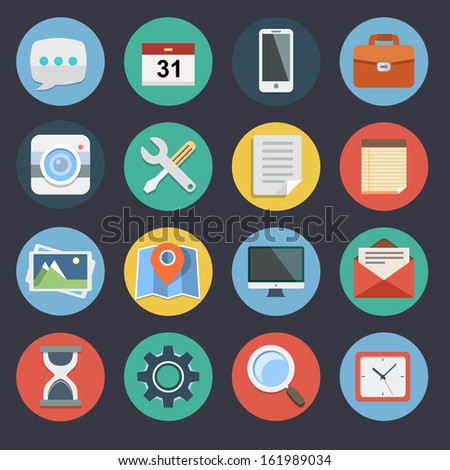 Flat Icons for Web and Applications Set 1 - stock vector