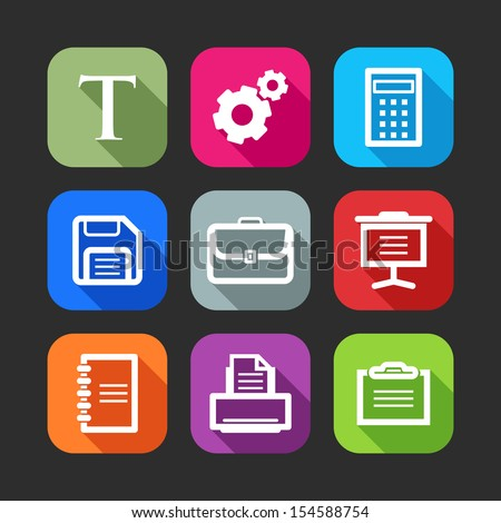 flat icons for web and mobile applications (flat design with long shadows)  - stock vector