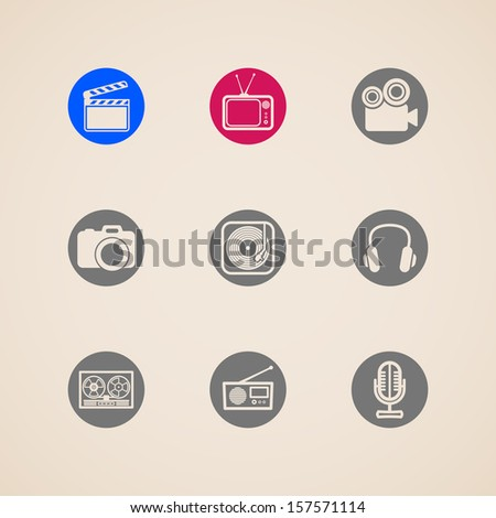 flat icons for web and mobile applications with creative industry items - stock vector