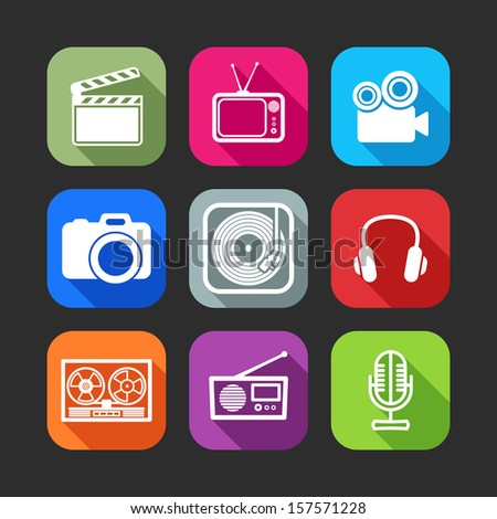 flat icons for web and mobile applications with creative industry items(flat design with long shadows)  - stock vector