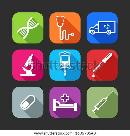 flat icons for web and mobile applications with medical items(flat design with long shadows)  - stock vector