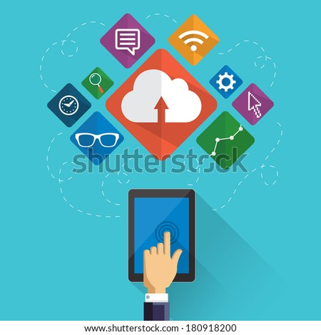 Flat icons for web design, business and digital marketing with long shadow - stock vector