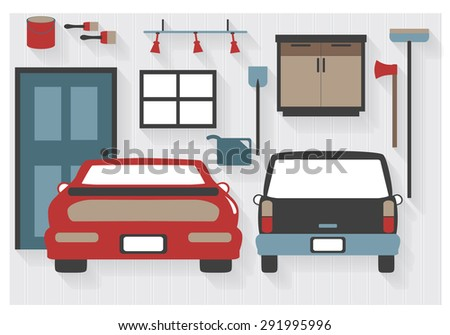 Flat Icons Garage Furniture Cars Tools Stock Vector 291995996 ...