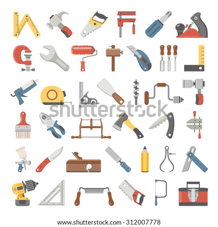Flat Icons - Hand Tools - stock vector