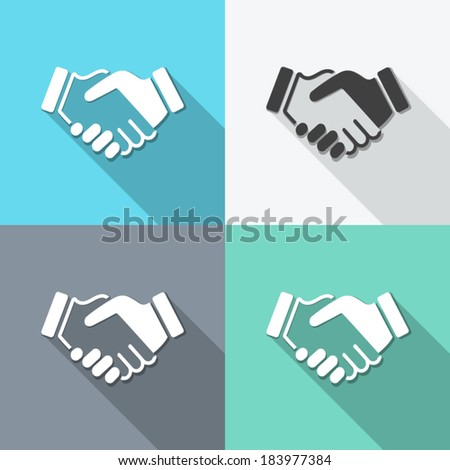 flat icons handshake. backgrounds for business and finance - stock vector