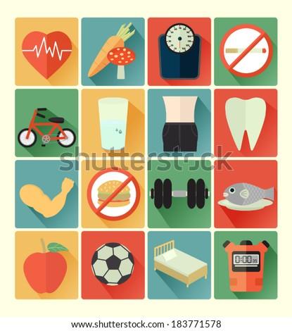 Flat icons health set - stock vector