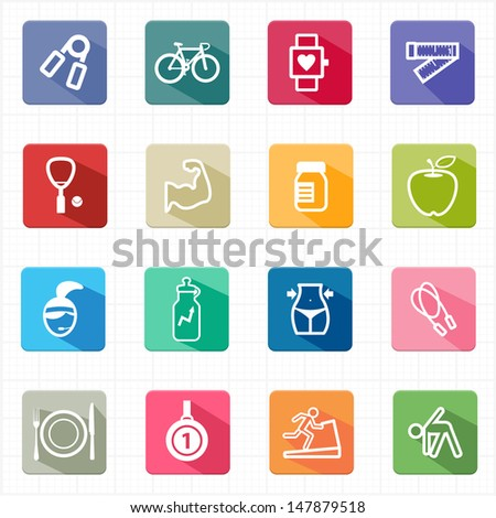 Flat icons healthcare fitness and white background - stock vector