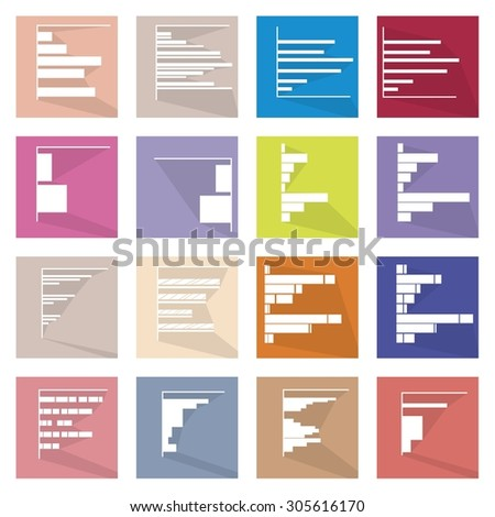 Flat Icons, Illustration Collection of 16 Infographics Elements Business Bar Chart and Graph Icon Labels.