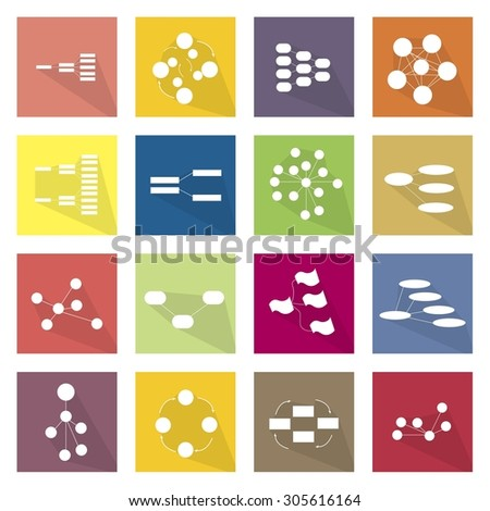 Flat Icons, Illustration Set of 16 Family, Team Tree Chart Diagram, Flow Chart and Graph Icon Labels.