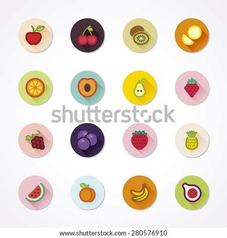 Flat icons in a circle with long shadow about fruit - stock vector