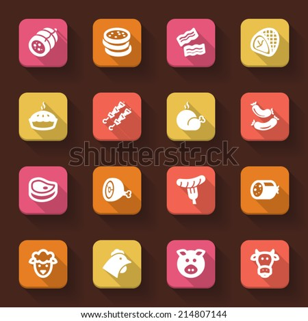 Flat icons in a square with long shadow about meat - stock vector