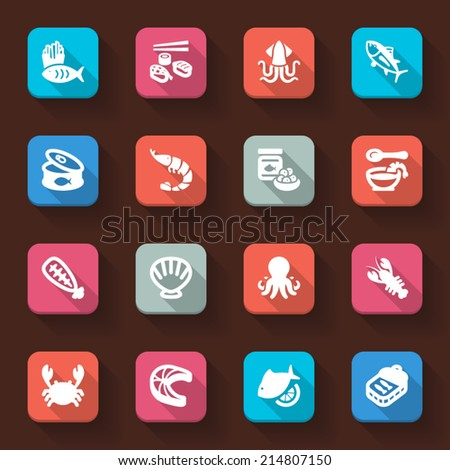 Flat icons in a square with long shadow about seafood - stock vector