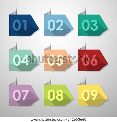 Flat icons number set with long shadow for design. Vector illustration template.