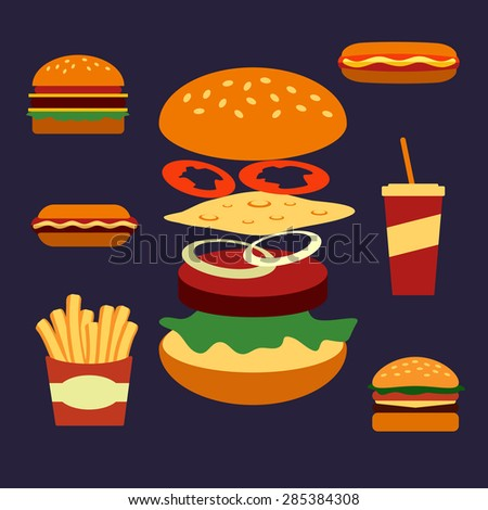 Flat icons of assorted takeaway food including a cheeseburger, hot dog, french fries, burger, coffee, and sesame cheeseburger showing ingredients