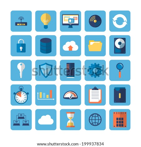 Flat icons of big data analytics. Vector illustration - stock vector