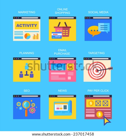 Flat icons of digital marketing, video advertising, social media campaign, newsletter promotion, pay per click service, website seo optimization. Eps 10 - stock vector