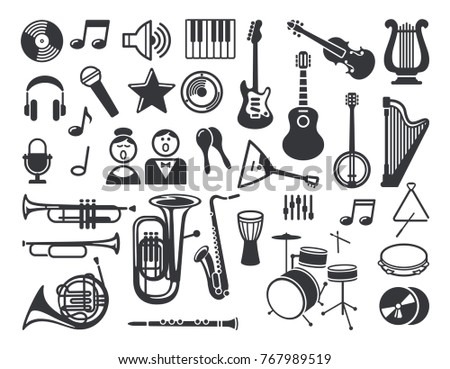 Flat Icons Musical Instruments Symbols Stock Vector 767989519