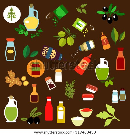 Flat icons of olive fruits, ginger, corn and green pea cans, spicy herbs, olive oil, salt and pepper shakers, vinegar, ketchup, mustard, mayonnaise, tomato sauce bottles - stock vector