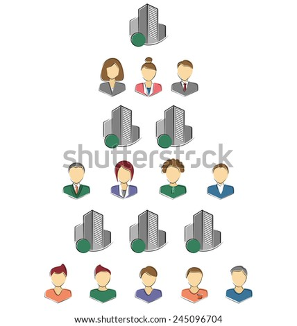 Flat icons of persons and buildings for infographic isolated on white background - stock vector