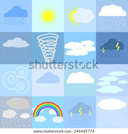 Flat icons of sunny, rainy, cloudy and snowy weather - stock vector