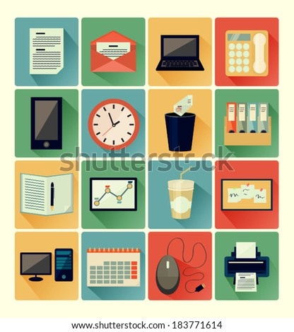 Flat icons office set - stock vector