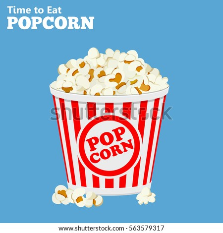 flat icons paper bag full of popcorn. Isolated vector illustration.