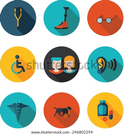 flat icons people with disabilities in vector format - stock vector