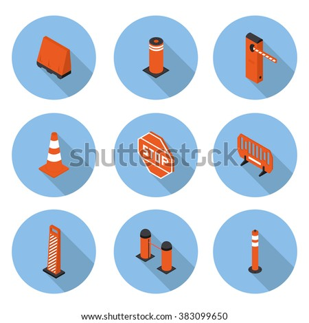 flat icons road equipment in vector format eps10 - stock vector