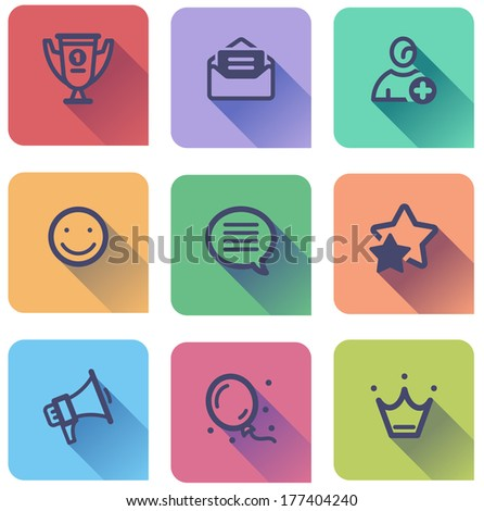 flat icons set - best choice, mail, registration,feedback, message, rate, news, apps, membership - stock vector