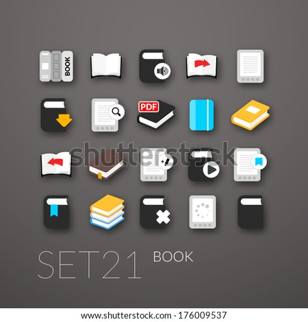 Flat icons set 21 - book collection