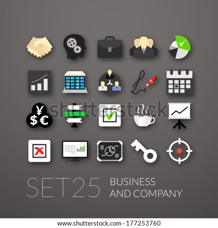 Flat icons set 25 - business and company - stock vector