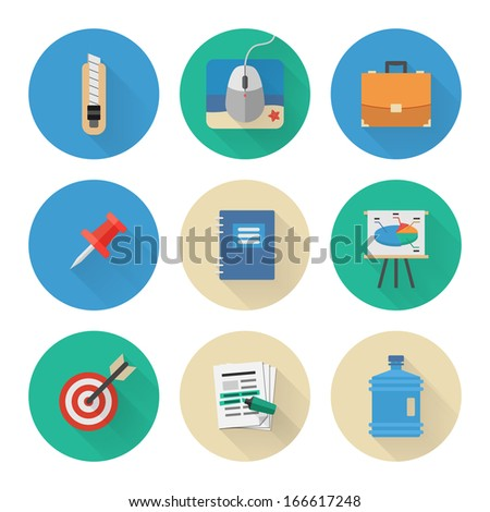 Flat Icons Set. Business Office. Vector Illustration - stock vector